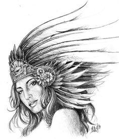 Aztec Women Drawings | Horacio Martinez > Aztec Girl