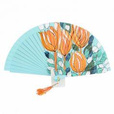 Abanico madera diseño flores naranjas