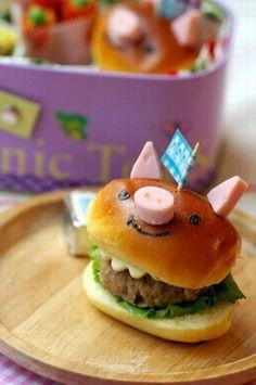 piggy burger #bento #kids #lunch