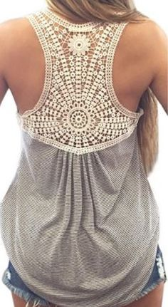 Love Love LOVE this Top! Stylish Grey Scoop Neck Lace Splicing Striped Monogram Embroidery Tank Top
