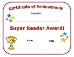 Presented for being a good listener and following directions well super reader award for kids give this printable certificate to a child who has done a great job reading and you feel should be recognized for it yadclub Gallery