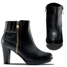 "Ultracool leatherlike black bootie has treaded lug sole for style and function. Decorative zipper and stud detail. Flexible platform. Lug sole for traction. Inside zipper for easy on/off. 3"" H heel.Half sizes, order one size up."
