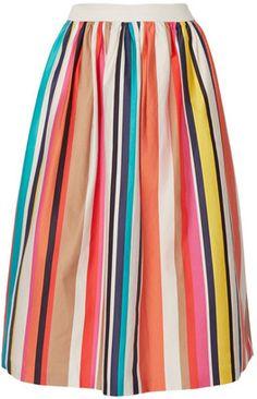 Shop Now - >  https://api.shopstyle.com/action/apiVisitRetailer?id=522563480&pid=2254&pid=uid6996-25233114-59 Alice + Olivia - Nikola Striped Stretch-cotton Poplin Midi Skirt - Ivory  ...