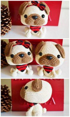 Amigurumi Pug Dog Free Crochet Patterns – Free Amigurumi Patterns Crochet Amigurumi Free Patterns, Free Crochet, Crochet Hats, Eye Details, Amigurumi Toys, Pugs, My Design, Stitch, Sewing