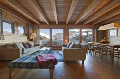 Chalet Berbou sitting room with view out to the village