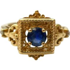 Vintage Sapphire 14K Yellow Gold Ring Size 7 from Suzy's Timeless Treasures on Ruby Lane