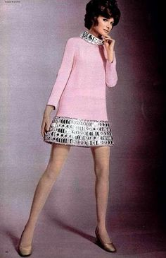 Pierre Cardin's pink silk-crèpe mini-dress with puffed metallic trim around the hem and collar, L'Officiel, 1969
