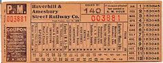 Streetcar transfer from Haverhill & Amesbury (Massachusetts) Street Railway Company (1912)