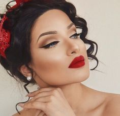 Red lips makeup                                                       …