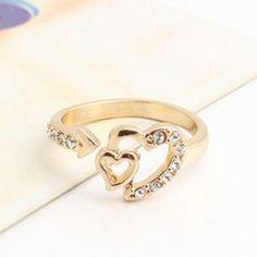 $3.65 Hot Sale Rhinestoned Heart Shape Women's Alloy Ring