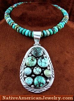 R644N - Native American Jewelry | Native American Jewelry Set | Turquoise Bead Necklace | Silver Pendant | Turquoise Jewelry