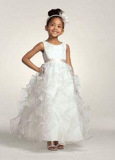 3f873ace100 Organza Flower Girl   Communion Dress with Ruffled Skirt Style H1281