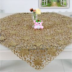 TOP QUALITY!! 2013 fashion  new autumn  gold color  embroidery table cloth for wedding hotel home textile(90*90cm) No.222-J US $19.90