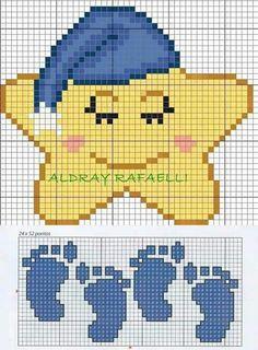 Image 🎀 ・ ☆ ・ 𝔤𝔢𝔣𝔲𝔫𝔡𝔢𝔫 𝔞𝔲𝔣 ・ ☆ ã . Tiny Cross Stitch, Baby Cross Stitch Patterns, Cross Stitch For Kids, Hand Embroidery Patterns, Cross Stitch Charts, Cross Stitch Designs, Baby Knitting Patterns, Cross Stitching, Cross Stitch Embroidery