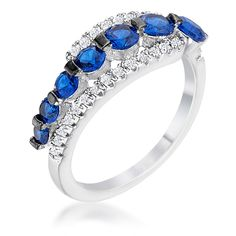 Rhodium & Hematite Plated Graduated Blue & Clear CZ Half Eternity Ring ⋆ We Heart Sparkles Half Eternity Ring, Eternity Bands, Turkish Jewelry, Brass Jewelry, Ring Designs, Blue Sapphire, Rings For Men, Silver Rings, Jewels