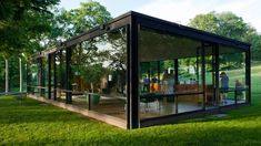 new canaan glass house 5 is part of Landscape architecture Mountain Window - Rambling meditation here Modern Glass House, Glass House Design, Amazing Architecture, Modern Architecture, Philip Johnson Glass House, Casas Containers, New Canaan, Container Architecture, Prefab Homes
