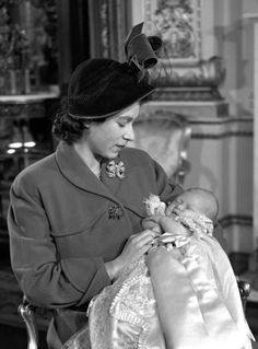 Princess Elizabeth with Prince Charles.