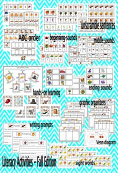 "This product is a great Fall addition to your Literacy Center and Literacy Workshop.  Sight words, sentences, beginning, middle, ending sounds, ""Opposites"" memory game, writing prompts, ABC order, graphic organizers, and more. Activities can also be used for early finishers or as a ""Must Do"" task during Independent Work."
