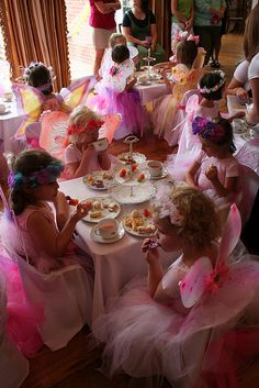 All-dressed up for a fairy princess tea party! Fairy Tea Parties, Girls Tea Party, Princess Tea Party, Princess Birthday, Disney Princess, Party Fiesta, Festa Party, Fairy Birthday Party, Birthday Crowns