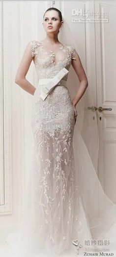 Zuhair Murad Illusin Neckline With Zipper Back Embroider Sweep Train Sheath See-Through Wedding Dress Bridal Gowns 2013