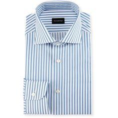 Ermenegildo Zegna Bold-Stripe Dress Shirt ($375) ❤ liked on Polyvore featuring men's fashion, men's clothing, men's shirts, men's dress shirts, men's apparel shirts, mens stripe shirts, mens striped shirt, mens cotton shirts, mens cotton dress shirts and mens button front shirts