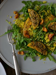 Crusted butternut squash wedges, turmeric millet and cashew salad