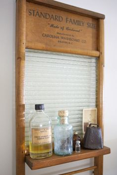 Vintage Ideas Vintage washboard shelf on Apartment Therapy. I already have a cool washboard, so this is perfect! - Name: Paul of Okay Yellow and LaurenLocation: Fifeville, Charlottesville, VirginiaSize: square feetYears lived in: 5 months; Vintage Towels, Bathroom Themes, Farmhouse Cabinets, Urban Farmhouse, Vintage Laundry Room, Laundry Room, Primitive Decorating, Washboard, Apartment Decor