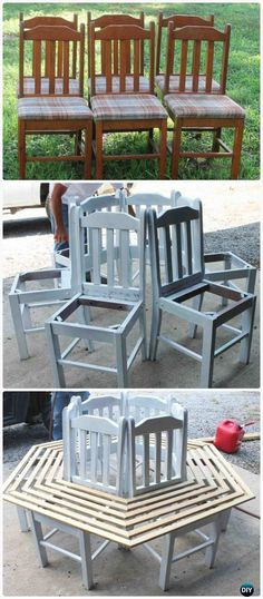 Once a bunch of old chairs ➜ now a garden bench.