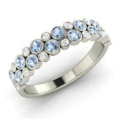 Xandra - Round Aquamarine  and Diamond  Wedding Ring in Sterling Silver