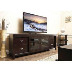 The curve 76 tv stand in mocha legends furniture http for Furniture of america torena