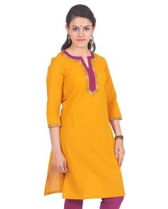 For an unexpected update to any outfit wearing this kurta by PURPLE YOU.Designed with absolute perfection, this 100% cotton kurta is soft against the skin and wil