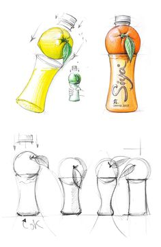 Siya is fruit juice that's so fresh it's practically been squeezed right into your bottle. Backbone Branding took the idea of fruit resting right on a juice glass to create a unique bottle shape that stands out against other juices on the market. Food Packaging Design, Packaging Design Inspiration, Branding Design, Design Ideas, Juice Branding, Juice Packaging, Blister Packaging, Industrial Design Sketch, Sketch Design