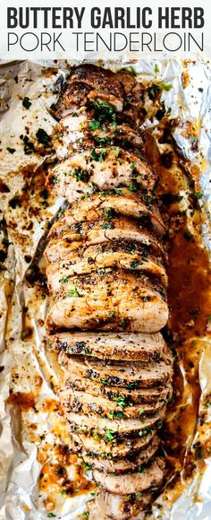 This Baked Pork Tenderloin is the BEST I've ever had!- This Baked Pork Tenderloin is the BEST I've ever had! It's outrageously juicy, bursting with herb, garlic butter flavor and SO easy! Step by step photos, tips and tricks included! Best Meat, Cooking Recipes, Healthy Recipes, Healthy Food, Chicken Recipes, Recipies, Roasted Pork Loin Recipes, Best Easy Recipes, Gastronomia