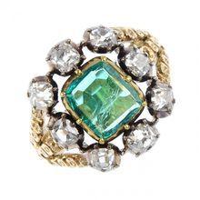 Georgian 1830's Emerald & Diamond Cluster Ring