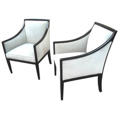 Jean Michel Frank Attributed Pair of Chairs Newly Covered in Grey Blue Velvet 1