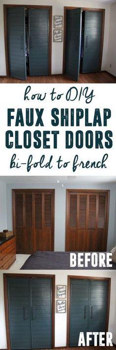 See how this girl transformed her bi-fold closet doors into modern french closet doors! Amazing DIY! www.BrightGreenDoor.com