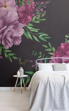 Welcome floral wallpaper with a difference to your space with this fresh purple watercolour floral wallpaper. Watercolor Floral Wallpaper, Watercolor Walls, Dark Wallpaper, Living Room Remodel, Dark Backgrounds, Violet, Wall Murals, Modern, Wall Art