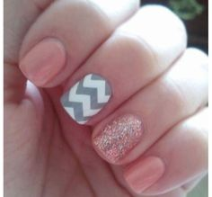 Pink and gray chevron nails. cute!