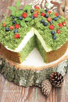 Tort leśny mech torcik dla dzieci zdrowy ze szpinakiem zielony prosty