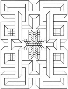"From a book called ""Big Book of Geometric Designs and Illusions to Color"" from Dover Publications. Doodle Coloring, Mandala Coloring, Geometric Designs, Geometric Art, Geometric Patterns, Abstract Pattern, Pattern Art, Blackwork, Graph Paper Art"
