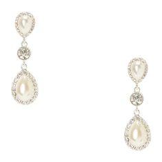 Crystal Framed Teardrop Pearls Drop Earrings
