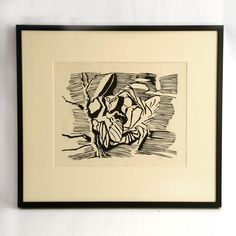 Black and white woodblock print of reclining man by Axel Salto N6392