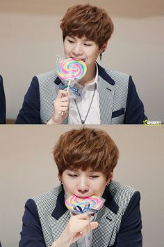 Suga with a Lollipop! Cutest thing, I can't even handle <3<3<3