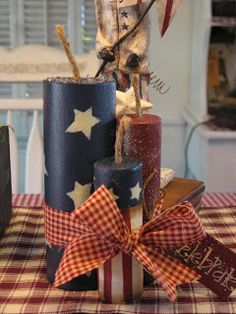 Firecrackers - Cut from Dowels and Painted; add a Fuse and some Ribbon.  Perfect for the 4th of July !!