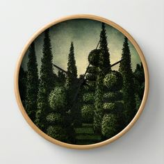Moonrise Garden Wall Clock by Paul Stickland for StrangeStore - $30.00 #strangestore #gardens #topiary #clocks