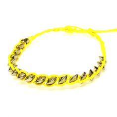 Yellow Disk Bracelet-£1 #prettytwisted http://prettytwistedonline.co.uk/product/yellow-disk-bracelet/