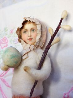 Vintage Style Spun Cotton Easter Girl Ornament by ArbutusHunter