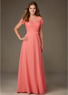 A-Line/Princess Scoop Neck Floor-Length Chiffon Bridesmaid Dresses With Lace (S10214645MLB)