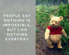 winnie the pooh quotes Everyone has a memory of Winnie the Pooh and his friends hanging with Christopher Robin in the Hundred Acre Woods. See how Disney brings the tale to life in their live action adaptation, Christopher Robin in theaters August Winnie The Pooh Quotes, Winnie The Pooh Friends, Disney Winnie The Pooh, Christopher Robin Quotes, Senior Quotes, New Quotes, Best Movie Quotes, Qoutes, Funny Quotes