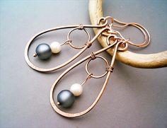 Wire Wrapped Earrings Copper and Grey Matt Resin by GearsFactory, €16.00